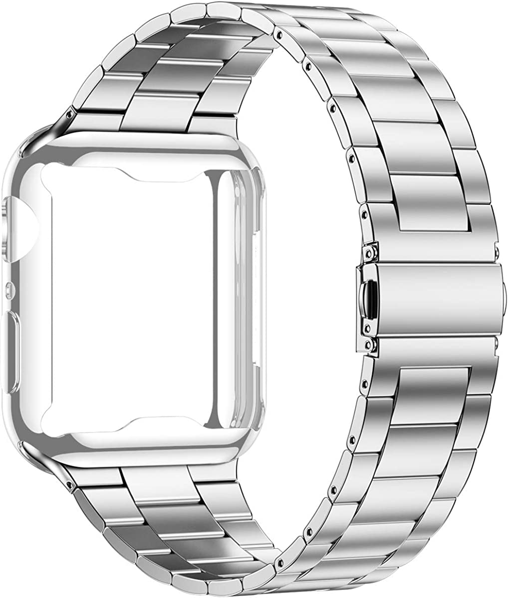 Wolait Compatible with Apple Watch Band 42mm 44mm 38mm 40mm with Case, Upgraded Business Stainless Steel Band with Screen Protector Cover for iWatch Series 6/SE Series 5/4/3/2/1