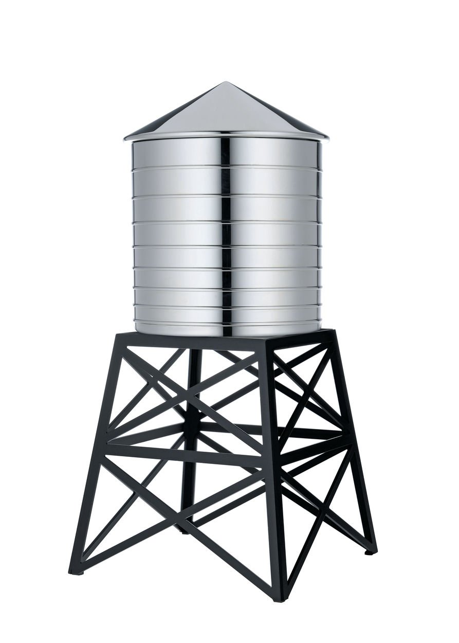 Alessi Water Tower Kitchen Container in Stainless Steel, Mirror Polished with Black Stand10.75''