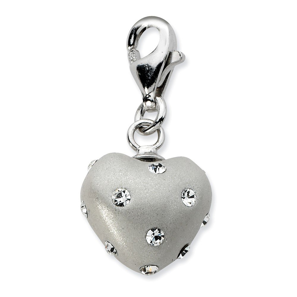 Solid 925 Sterling Silver Click-on White Ferido /& Stellux Crystal Heart Pendant Charm 12mm x 32mm