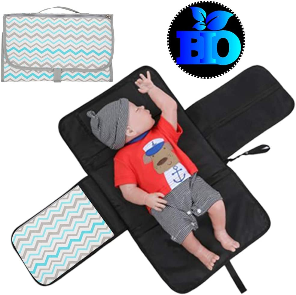 Grey Wavy Portable Diaper Changing Mat Baby Cushioned Diaper Changing Pad with Built-in Pillow Travel Changing Clutch with Pocket Foldable Changing Station Pad