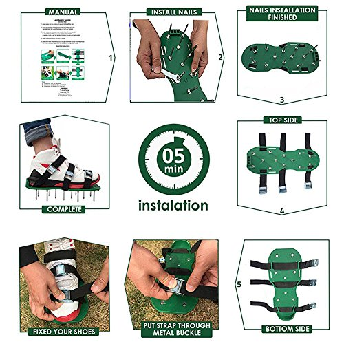 Leegoal Lawn Aerator Shoes, Heavy Duty Spiked Sandals for Grass, with 4 Adjustable Straps and Metal Buckles, Professional Garden Lawn Shoes (Black) by Leegoal (Image #5)