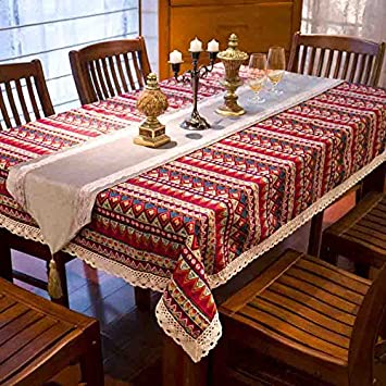 Bohemian Ethnic Style Lace Tablecloth Fabric European Mediterranean Garden  Table Cloths,European Pastoral Cloth Tablecloths