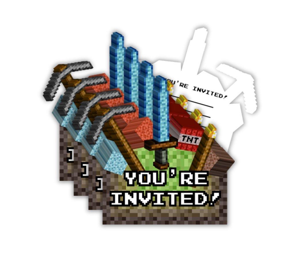 Mining Pixel World Birthday Party Invitations & Envelopes (20 Count)