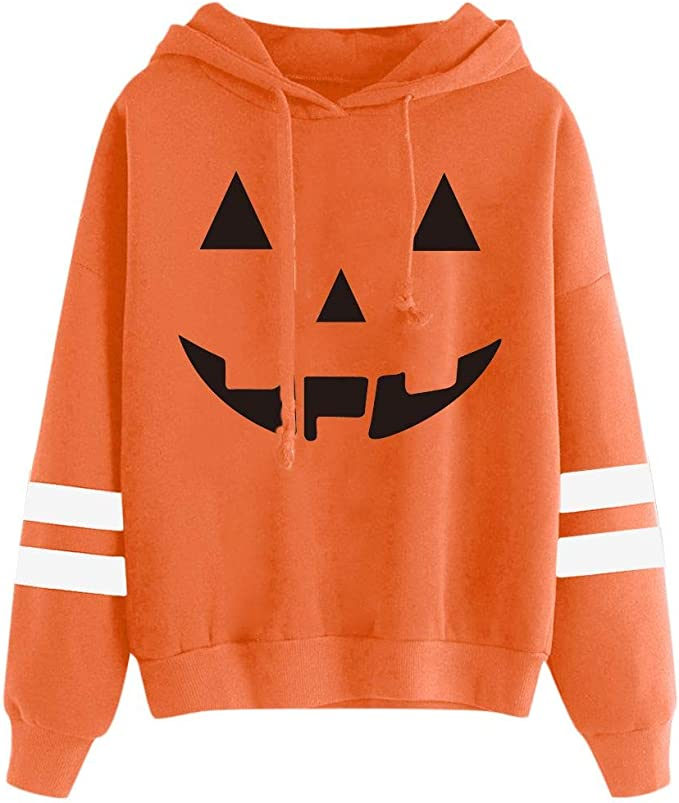 Striped Sleeve Halloween Hoodies by Spadehill