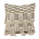 SARO LIFESTYLE Moroccan Wedding Blanket Style Design Fringe Cotton Down Filled Throw Pillow, 18', Natural