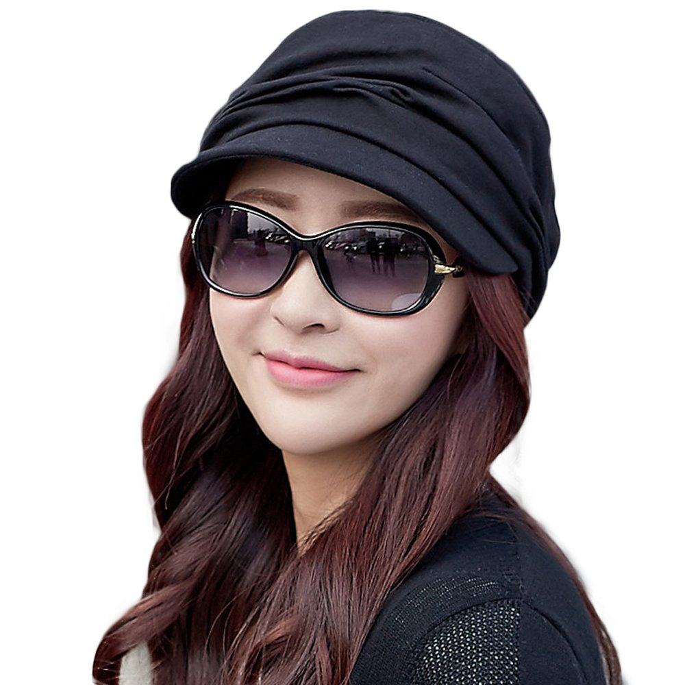 Cotton Cloche Newsboy Cabbie Beret Chemo Caps for Women Winter Hat for Cancer Patients Black by Comhats