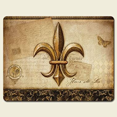 Vintage Flower of the Lily Fleur De Lis 15 x 11.5 inch Tempered Glass Cutting Board