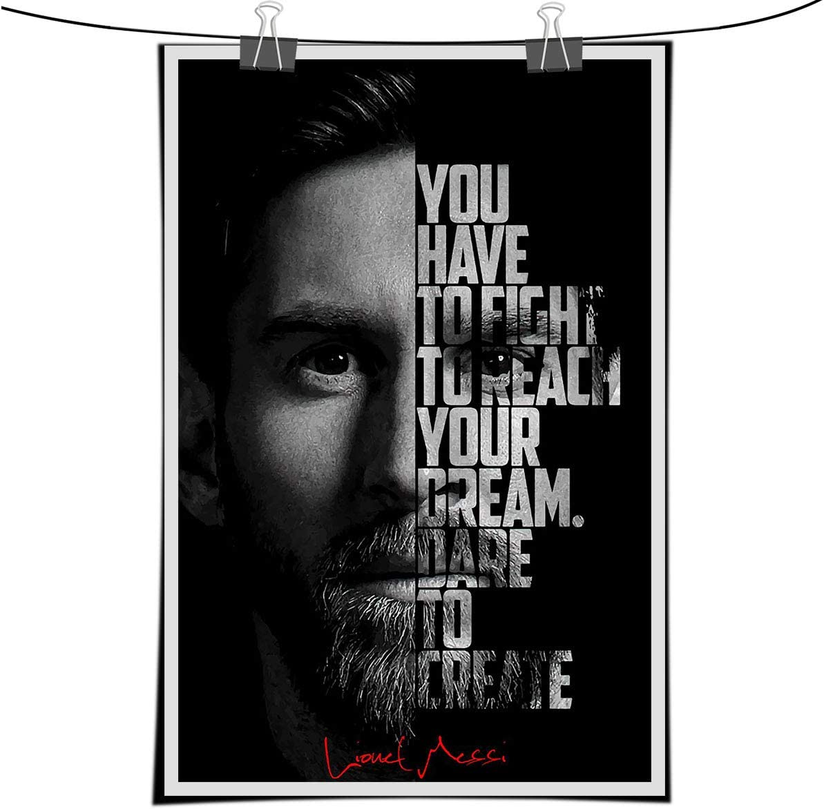 Lionel Messi Motivational Quote Wall Art Pictures Canvas Painting Nordic Inspirational Posters Prints Home Decor (1,20x28 inch-no frame)