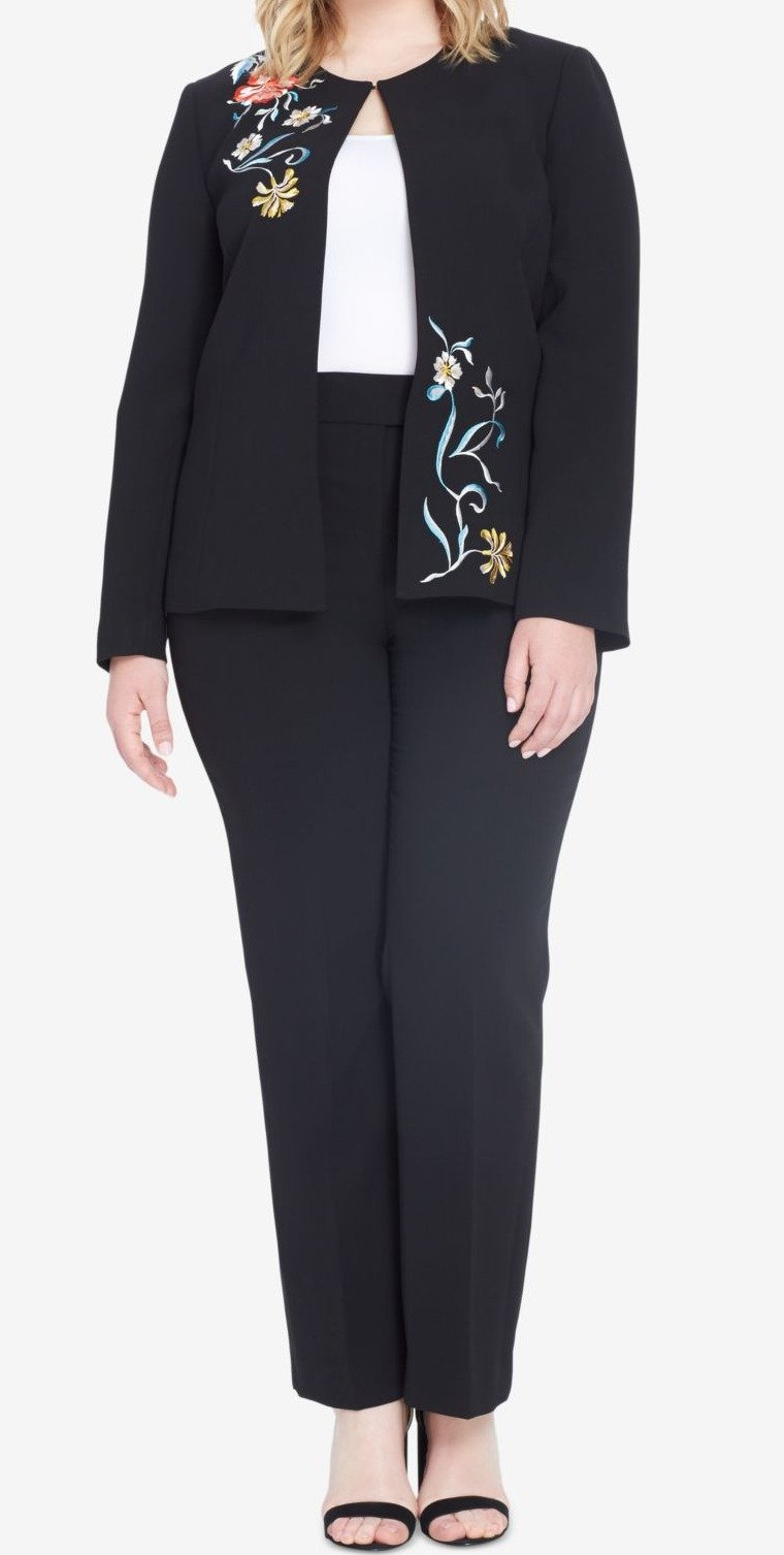 Tahari by Arthur S. Levine Women's Plus Size Crepe Pant Suit with Floral Embroidery on Jacket, Black, 22W