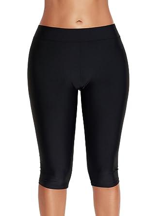 79c69b37e2 Zando Women's Knee Length Swim Rash Multipurpose Short Sport Capris Pants  Swimsuit Bottom Black Medium