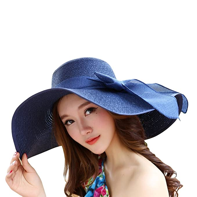 77d006e2 Women Ribbon Derby Hat Floppy Wide Brim Hat Large Beach Hat UV Sun Hat  (Navy blue): Amazon.ca: Clothing & Accessories