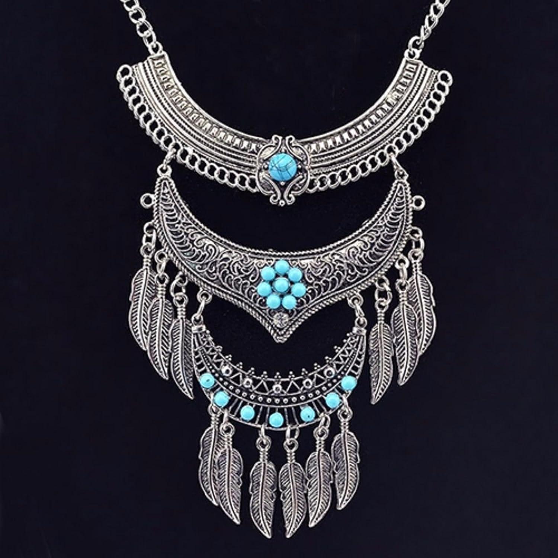 XXL gioielli set collana orecchini Boho piuma Statement Acchiappasogni  colore argento turchese 588: Amazon.it: Gioielli