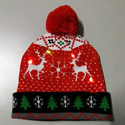 Mirabellini LED Light Up Hat Beanie Berretto in Maglia Berretto con  Cappello Natalizio dc60ee7dcf42