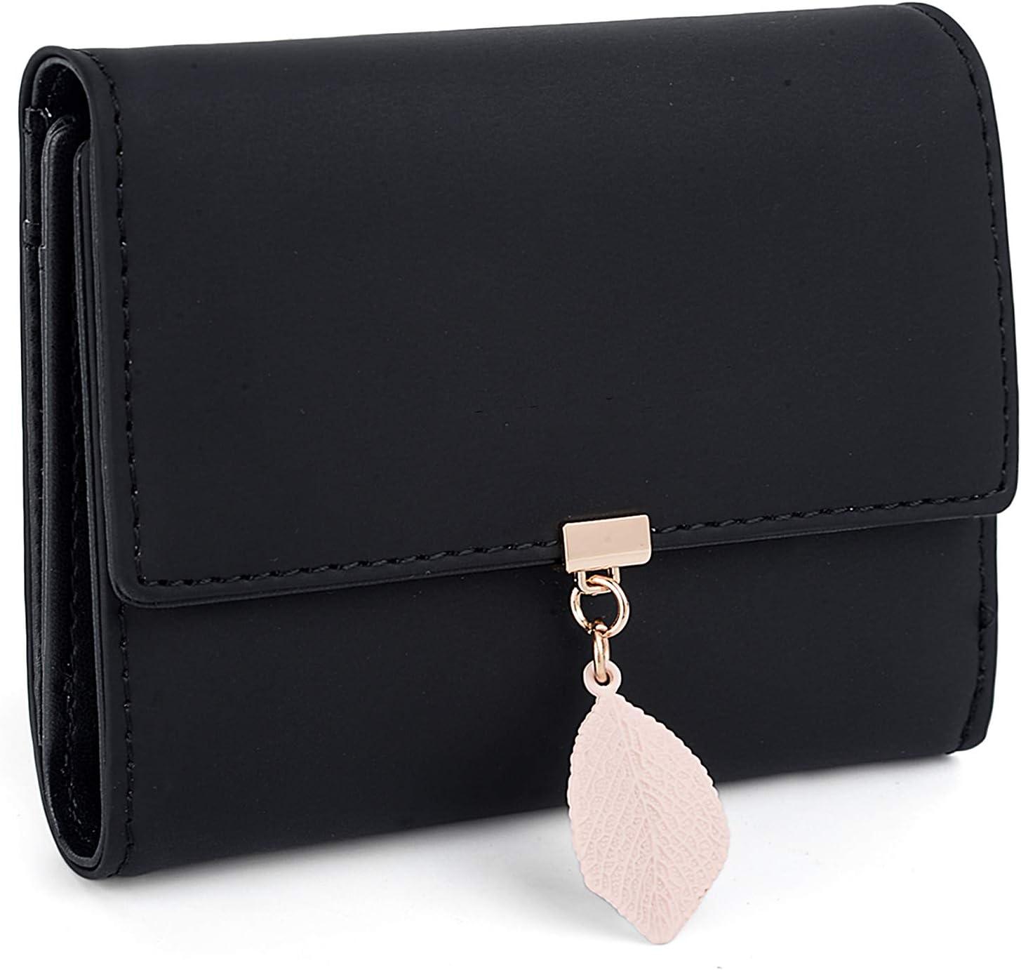 5 scomparti Portafogli da donna con ciondolo a forma di foglia small UTO 1 finestra per foto con cerniera e tasca per monete Beige aggiornato