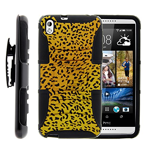 MINITURTLE Case Compatible w/ HTC Desire 816 Case, HTC Desire 816 Holster, Two Layer Hybrid Armor Hard Cover w/ Built in Stand for HTC Desire 816 (Virgin Mobile) from MINITURTLE | Includes Screen Protector Leopard Pattern (Virgin Mobile 816 Cases)