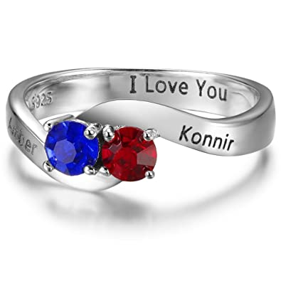 personalized engagement rings customized names engraved simulated birthstones wedding rings for women 6 - Personalized Wedding Rings