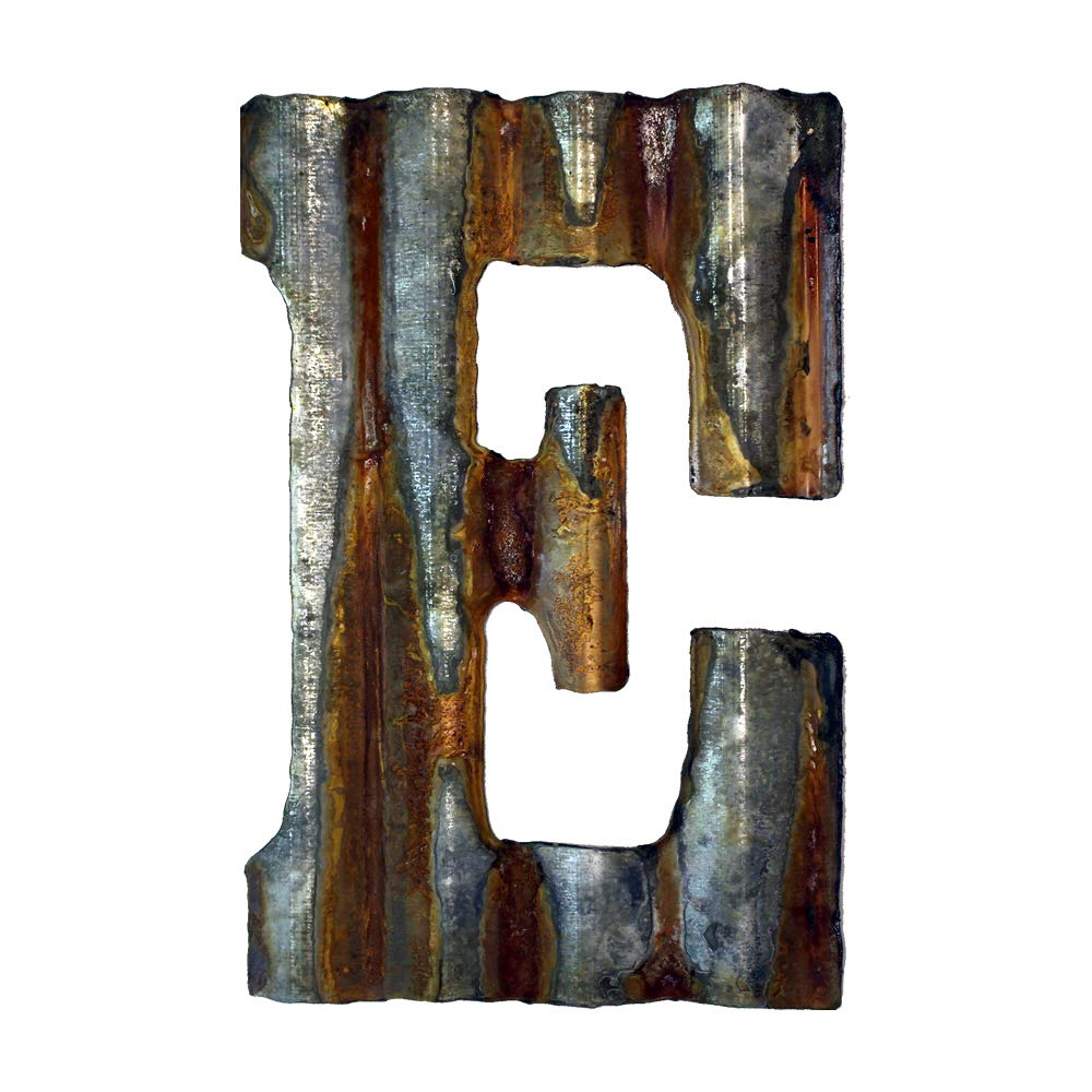 Custom Cut Decor 8'' Rusty Galvanized Corrugated Metal Letter -E