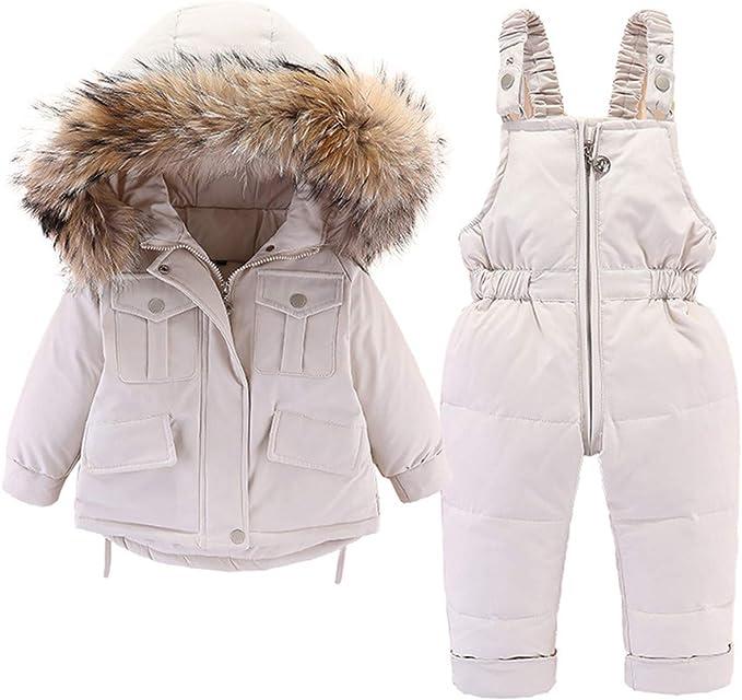 Baby Girls Snowsuit Toddler Puffer Hooded Jacket Bib Pants 2 Pieces Set