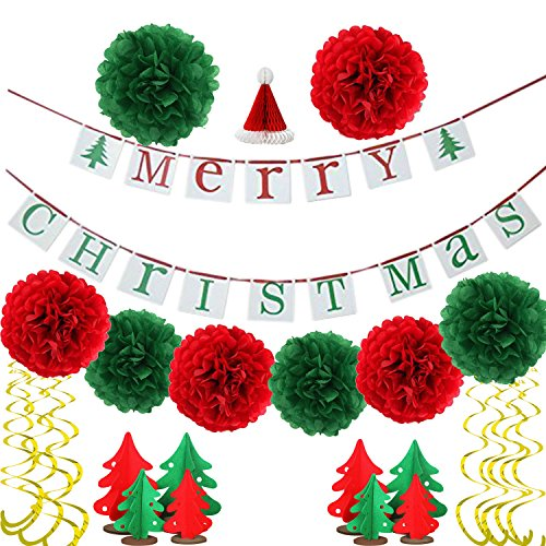 Merry Christmas Banners Hanging Bunting Garlands for Holiday Party Outdoor Decoration for Christmas Party By Kubert (Christmas Party Decorations)