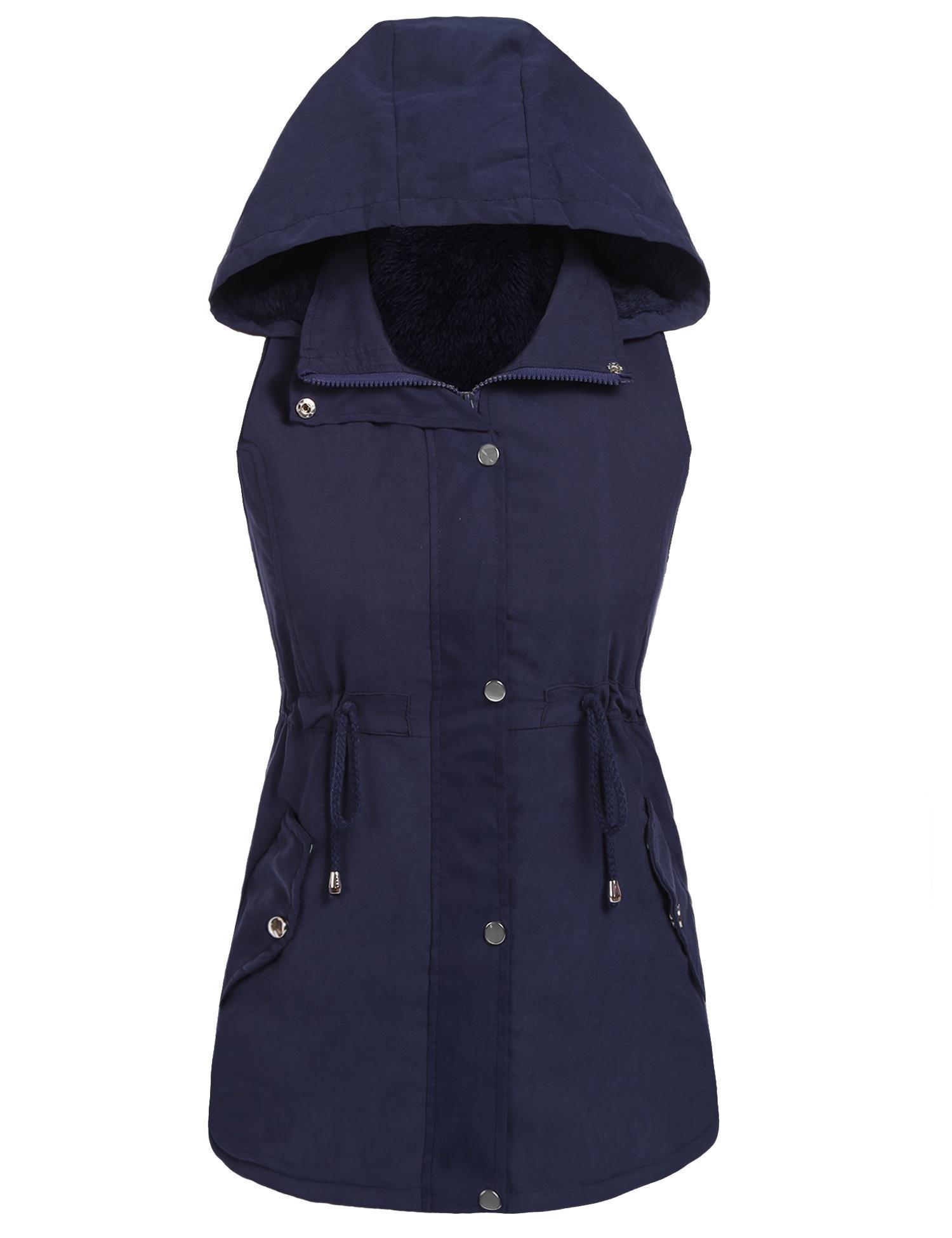 Hufcor Women Long Vest Top Drawstring Waist Hooded Anorak Military Utility Vest(Dark Blue,S)