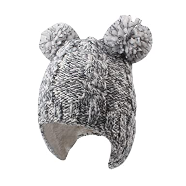 f354f68e4dd Chunky Cable Knit Baby Hat with Pompom Baby Boys Girls Winter Beanie Warm  Fleece Lining Earflap