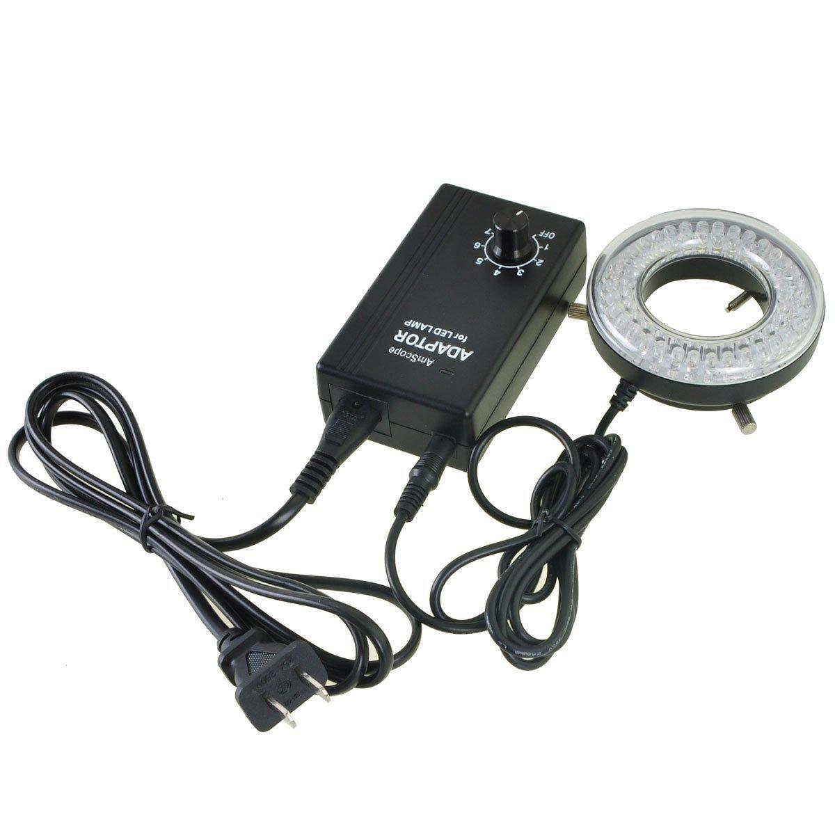 AmScope Lampe LED anneau 64 LED pour Microscope avec adaptateur