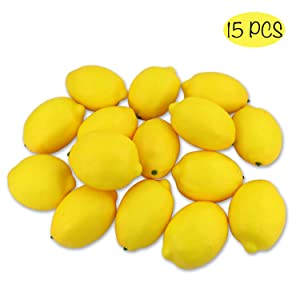 CEWOR 15pcs Fake Fruit Lifelike Lemons Simulation Yellow Lemon Artificial Fruit Decorations for Still Life Paintings Home House Kitchen Party Decoration