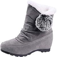 ZODOF Zapatos de cuña con Punta Redonda y Bola de Gamuza para Mujer Mantienen Calientes Las Botas de Nieve sin Cordones Slip On Low Heel Zapatos Planos Zapatos Individuales