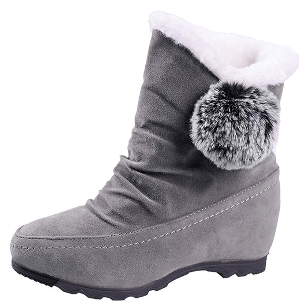 Red Ta Clearance Women Suede Hairball Round Toe Wedges Shoes Keep Warm Slip-On Snow Boots