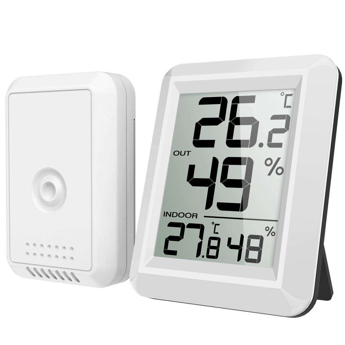 V.JUST Digital Hygrometer Thermometer, Indoor Outdoor Monitor Temperature Humidity, Wireless Mini Hygrometer Gauge Switch