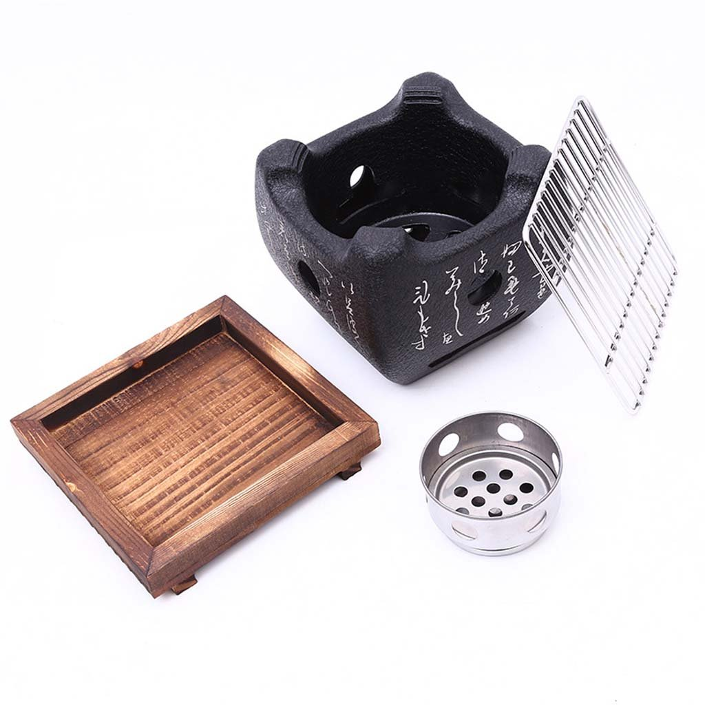 Portable Indoor//Outdoor Charcoal Grill with Solid Wood Tray Size : 12 * 12 Square Barbecue Mud Furnace with Cool Text Mini Japanese BBQ Grill