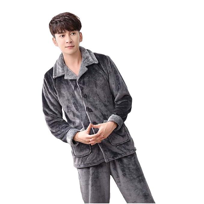 MOXIN Pijamas de franela Albornoces para hombre albornoz Gris oscuro , 96076 , xl
