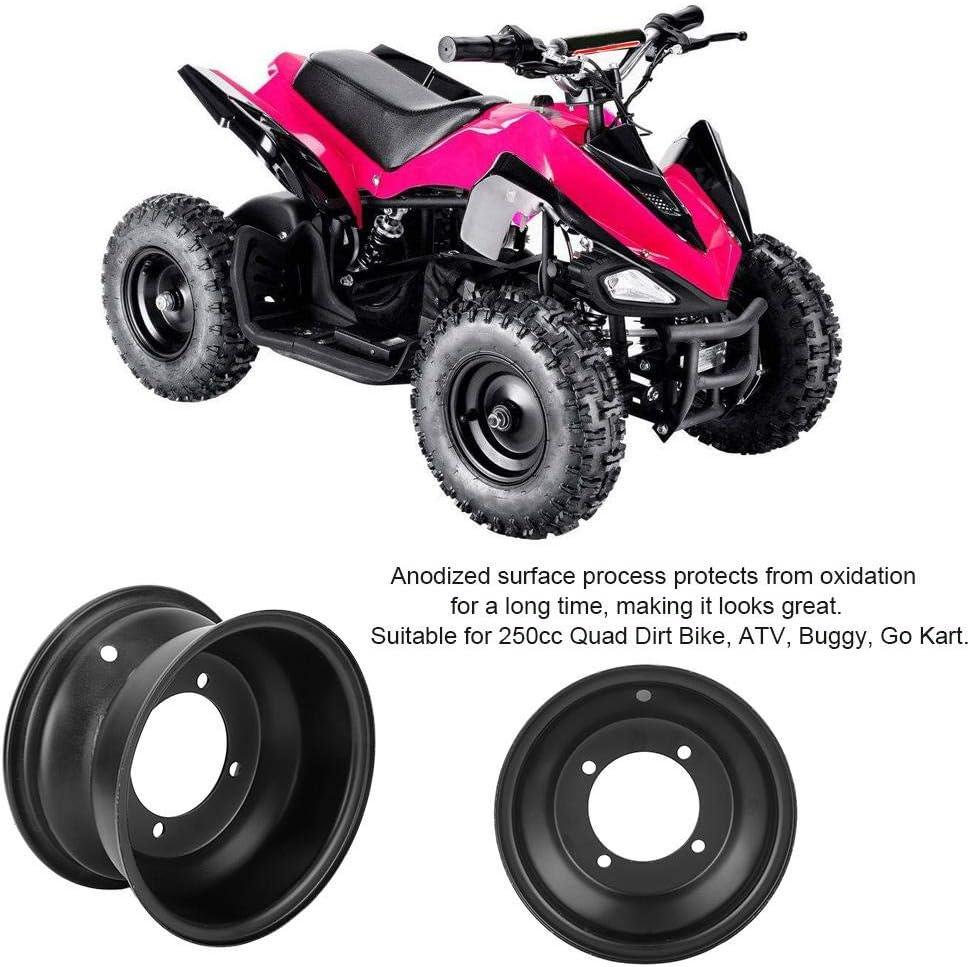 Jante de roue Suuonee 10 pouces 90 mm 3,54 pouces trou 4 goujons de roue avant pour 250cc Quad Dirt Bike ATV Buggy Noir