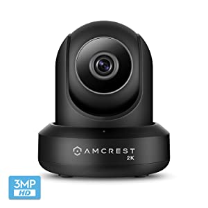 Amcrest UltraHD 2K WiFi Camera 3MP (2304TVL) Dualband 5ghz / 2.4ghz Indoor Pan/Tilt Surveillance Wireless IP Camera, Home Video Security System with IR Night Vision, Two-Way Talk IP3M-941B (Black)