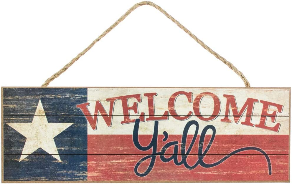 "Texas Flag Welcome Y'all Sign - 15"" x 5"", Vintage Red, White and Blue Wooden Door Decor, Lone Star Southern Wall Decoration, Wreath, Home, Kitchen, Farmhouse, Porch, Barn, Store Front Display"