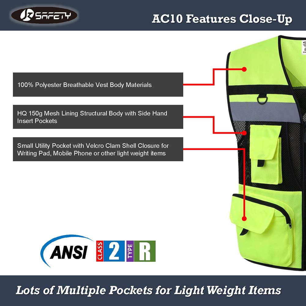 JKSafety 10 Pockets Class 2 High Visible Reflective Safety Vest Zipper Front Large Back Pockets Breathable and Mesh Lining (X-Large, Yellow Black) by JKSafety (Image #4)