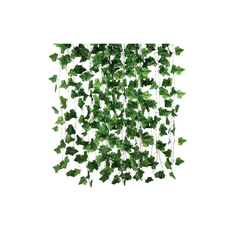 silk flower arrangements 12 strands artificial fake grape vines with 3 strings grapes, hanging plant large leaves garland for wedding party store home decor indoor outdoors (84 ft)