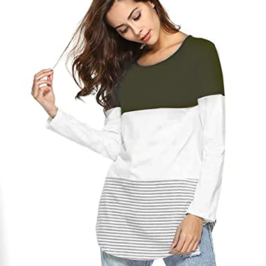 9a02c0c8982 Amazon.com  Women Daily Casual Long Sleeve Striped Patchwork Stretchy Tops  Blouse T-Shirt Clearance  Clothing