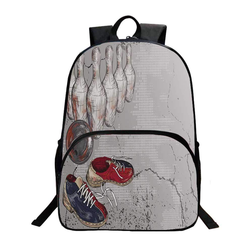 Bowling Party Decorations Fashionable Backpack,Bowling Shoes Pins and Ball Artistic Grunge Style Decorative for Boys,11.8''L x 6.2''W x 15.7''H