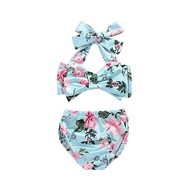 93d271b1fe Mekilyn 2Pcs Baby Girls Halter Bowknot Tube Top+Floral Short Bottoms Bikini  Bathing Suit Swinwear
