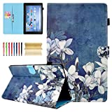 All-New Amazon Fire HD 10 Case (2015 5th Gen / 2017 7th Generation), Casii Slim Fit Premium Leather Folio Smart Stand Cover with Auto Wake/Sleep Function for Fire HD 10.1'' Tablet - White Flower