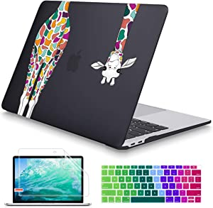 May Chen MacBook Air 13 inch Case 2020 2019 2018 Release A1932 A2179, Soft Touch (Newest Version) Hard Shell Cover for 13 inch MacBook Air Case with Retina Display Touch ID, Black Colorful Giraffe