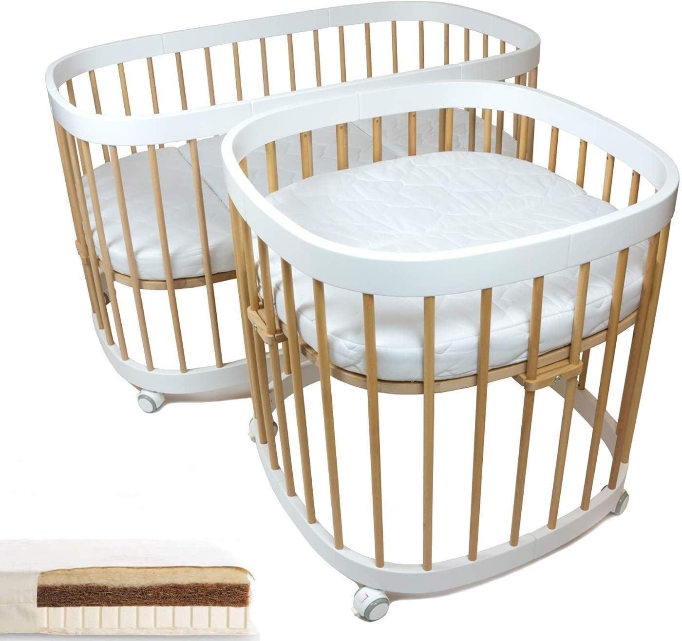 tweeto Cuna de bebé 7 en 1 – Multifuncional, ampliable, incluye 2 colchones de látex Kokos Mini + Maxi (haya y blanco)