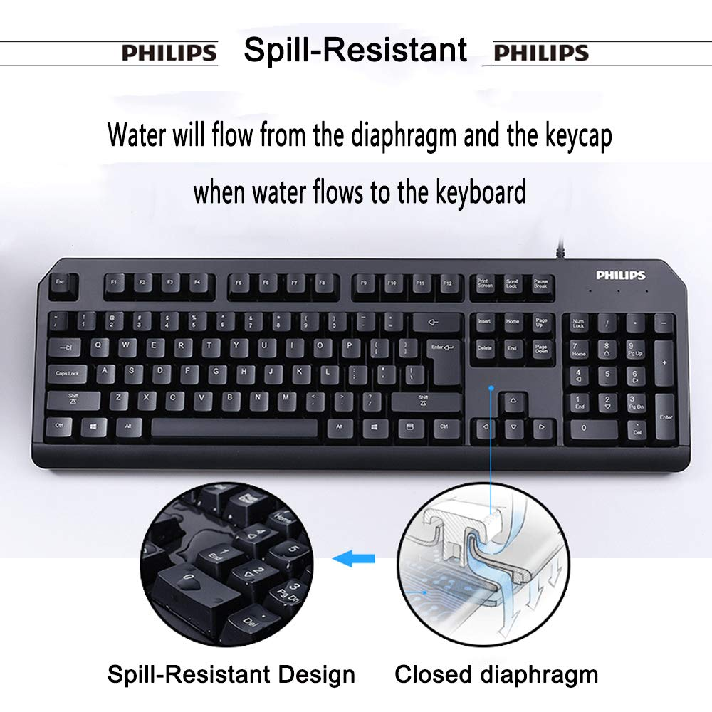 Philips Gaming Keyboard, USB Wired Ergonomic Mechanical Keyboard for PC, Laptop, Mac