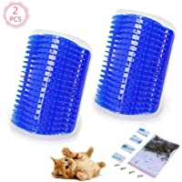 2 Pcs/Set Cat Self Groomer Brush Catnip-Wall Corner Mounted Massage Grooming Comb-Helps Prevent Hairballs and Controls Coming-Safe fortable with Catnip (Blue)