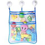 RANIACO Large Size Bath Toy Organizer with 3 Strong Hooked Suction Cups,White