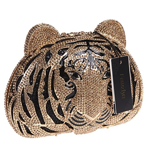 Wedding Studded Yellow Tiger Handbag Clutch Shaped Diamond Head Purse Smoky Fawziya apq7wC
