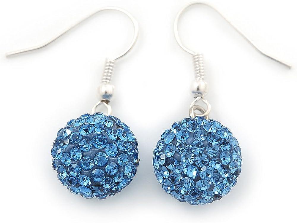 Pendientes con cristales de Swarovski, diseño de bola de color azul con acabado chapado en plata, diámetro: 12 mm, longitud: 3 cm