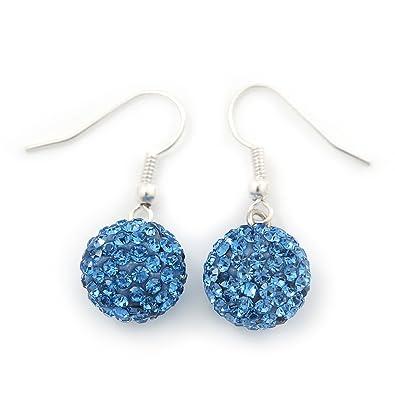 41cc38884 Sky Blue Swarovski Crystal Ball Drop Earrings In Silver Plated Finish -  12mm Diameter/ 3cm Length: Amazon.co.uk: Jewellery