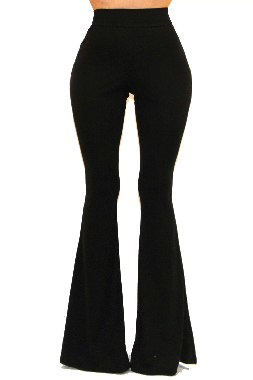 VIVICASTLE Women's Boho Solid Hippie Wide Leg Flared Bell Bottom Pants (Medium, Black) by Vivicastle (Image #3)